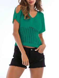 Mangas curtas T-shirt acrílico verde V Neck Mulheres Camiseta
