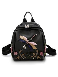 Mochilas bordadas pretas do saco de escola das meninas