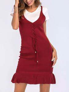 Bodycon платье Красных ремни шея Knotted Повседневных рукава платье карандаш