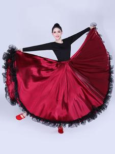 Paso Doble saia de dança plissado rendas balanço completo dançarino latino desempenho vestido