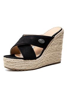 Alpargatas Wedge Mules Mulheres Plus Size Sapatos