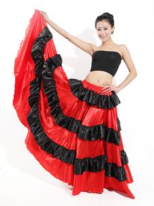 Paso Doble Dance Skirt Two Long Tuffle Red Long Skirt