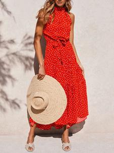Vestido de verão laranja Jewel Neck Lace Up impresso vestido de praia de poliéster