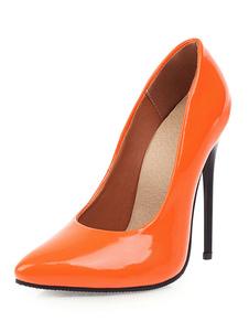 Zapatos de tacón con punta de charol Zapatos de tacón alto con tacón de aguja Zapatos de talla grande sexy para mujer
