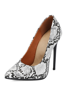 وأشار الكعب العالي للمرأة مضخات تو الأفعى طباعة خنجر كعب جنسي زائد أحذية الحجم