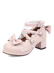 الحلو لوليتا الأحذية الوردي القوس الكشكشة جولة تو أحذية بو الجلود لوليتا