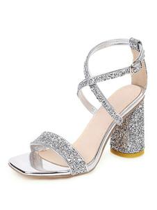 Cilindro Sandalias cruzadas con purpurina y tacón alto Lentejuelas plateadas Zapatos de noche Zapatos de fiesta para mujer