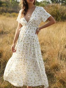 بوهو ماكسي اللباس الخامس الرقبة قصيرة الأكمام فستان زهري طباعة الصيف