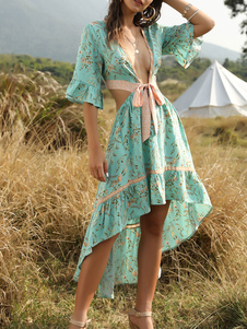 boho dress mangas com decote em v meia impressão floral em camadas vestido de praia