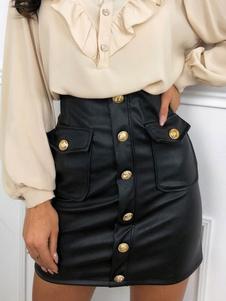تنورة BODYCON المرأة أزرار جلدية سوداء مثل قيعان النساء