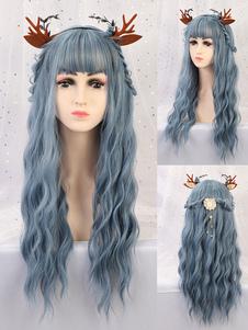 شعر مستعار طويل للمرأة الطفل الأزرق مجعد رايون البوهيمي الطبقات طويل الشعر المستعار الاصطناعية