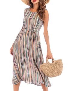 Vestido de verão chiffon jóia pescoço listras mulheres vestido de praia