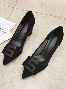 Décolleté con tacco largo nero Scarpe a punta con tacco basso Scarpe da donna