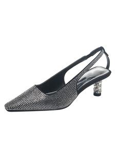 هريرة كعب مضخات المرأة ساحة تو أحجار الراين أحذية خفيفة مضخات أحذية حزب الأسود