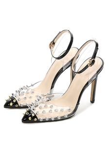 Tacchi alti neri Donna Punta a punta Rivetti Pompe cinturino alla caviglia Scarpe taglie forti