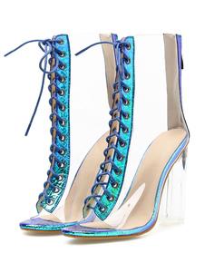 Прозрачные ботинки на шнуровке с открытым носком Перспексные каблуки Transparente Короткие ботильоны