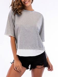 T-shirt de mangas curtas cinza mistura de algodão jóia pescoço camiseta para mulheres