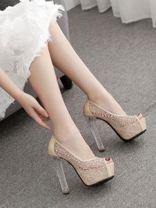 زقزقة اصبع القدم عالية الكعب النساء منصة المشمش كعب مكتنزة الانزلاق على مضخات