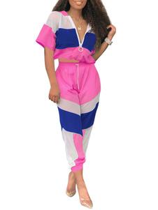1970s أزياء ريترو أزياء هالوين الزي كتلة اللون الرياضي