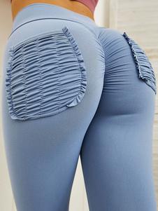 Calças Calças de cintura alta em poliéster azul celeste