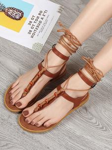 Sandalias de dedo planas con cordones negros Sandalias de playa cómodas