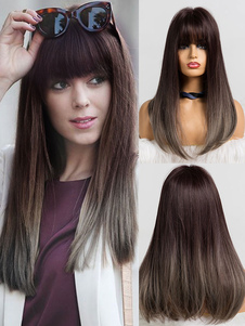 Mulheres longa peruca Tan reta Rayon Chic perucas sintéticas curtas em camadas