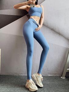 Брюки Небесно-голубой полиэстер Природные талии брюки Йога Брюки