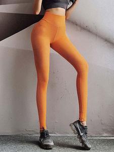 Pantalones Oragnge Poliéster rojo Pantalones de cintura natural Pantalones de yoga
