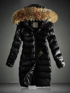 Women Jacket Black Puffer Coat Faux Fur Hooded Long Sleeves Qualited Jacket For Winter