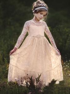 Abiti da ragazza di fiori Abiti da festa per bambini con scollo a barchetta a maniche lunghe gioiello