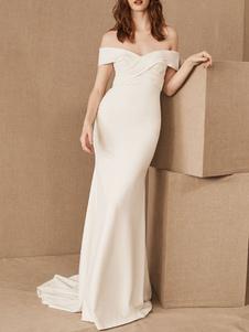 Vestidos de novia sencillos de silueta sirena con manga corta Vestidos de novia Blanco con escote de hombros caídos cintura natural con pliegues