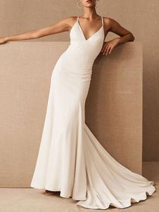 Vestidos de novia sencillos ajustada Vestidos de novia Blanco con correa spaghetti sin mangas cintura natural cruzada Tela Satén con cuello en V