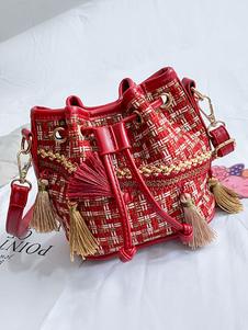 حقيبة دلو بوهيمية للمرأة عبر حقيبة الجسم مع شرابات