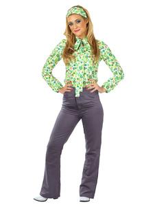 1970s أزياء ريترو أزياء نسائية خضراء طويلة الأكمام بلوزة وسراويل أغطية الرأس نمط البلد مجموعة أزياء هالوين