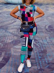 1970s أزياء ريترو ازياء نسائية سوداء قصيرة الأكمام أعلى وسراويل ريترو مجموعة هالوين ازياء