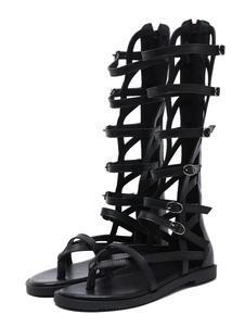أحذية عالية في الركبة الأسود المصارع صنادل ثونغ شقة أحذية نسائية