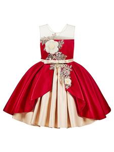 Vestidos da menina de flor jóia pescoço poliéster sem mangas na altura do joelho vestido de baile arcos crianças vestidos de festa