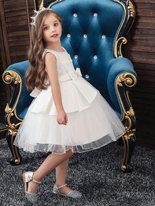Vestidos da menina de flor Jóia Pescoço Sem mangas Arcos Crianças Vestidos de festa social