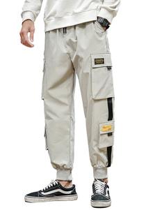 Pantalones para hombres Pantalones de carga recta de cintura natural casual Pantalones de hombre grises 3 colores