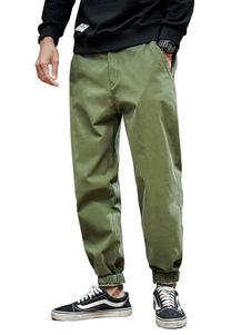 Pantalones para hombres Pantalones de carga rectos elegantes de cintura natural Pantalones verdes para hombres
