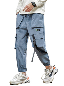 Pantalones para hombres Pantalones de carga rectos elegantes de cintura natural Pantalones azules para hombres