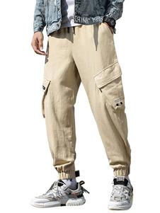 Pantalones para hombres Pantalones de chándal de entrenamiento grandes y elegantes Bolsillos Cintura natural Pantalón cargo recto Pantalones de color caqui para hombre