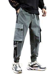Pantalones para hombres Tamaño Big Pocket Casual Cintura natural Pantalón cargo recto Pantalones negros de entrenamiento para hombres