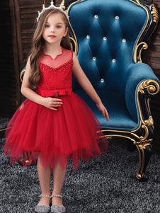 Платья для девочек-цветочков с вырезом без рукавов Вышитые детские платья для вечеринок