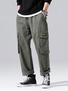 Pantalones para hombres Pantalones de carga recta de cintura natural casual Pantalones de hombre verde