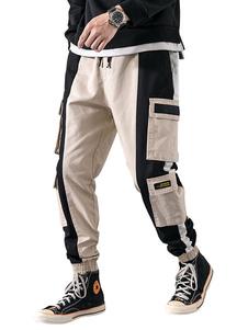 Pantalones de hombre Pantalones de carga recta de cintura natural casual Pantalones de hombre de color caqui