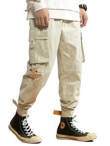 Pantalones para hombres Pantalón de carga recto de cintura natural elegante Pantalones de hombre de color caqui