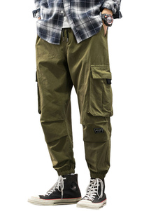 Pantalones de hombre Pantalones de carga recta de cintura natural casual Pantalones de hombre verde