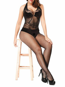Sheer Crotchless Bodystocking Preto Sexy Lingerie Lingerie