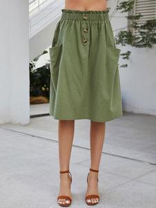 Bolsa de papel falda verde botones de verano una línea de falda de Midi con los bolsillos